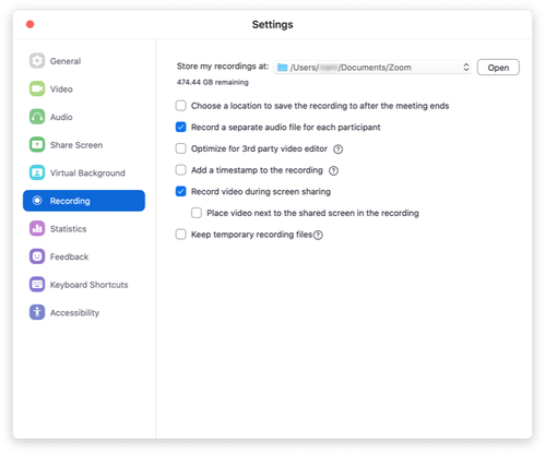Zoom settings window, showing the recording options